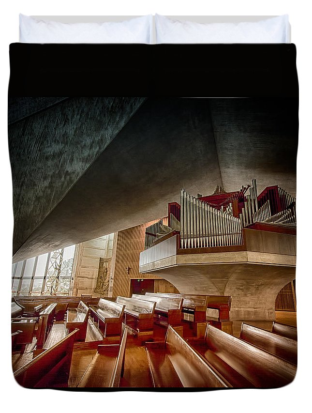 St. Mary's Duvet Cover featuring the photograph Ruffatti Organ by Laura Macky