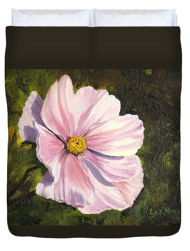 Cosmos Duvet Cover featuring the painting Ruffled Cosmos by Lea Novak