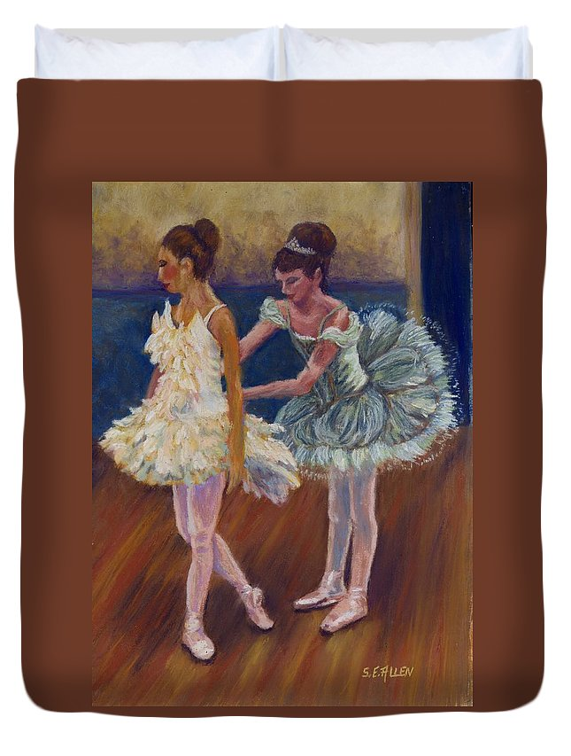 Ballerina Duvet Cover featuring the painting Ruffled Feathers by Sharon E Allen