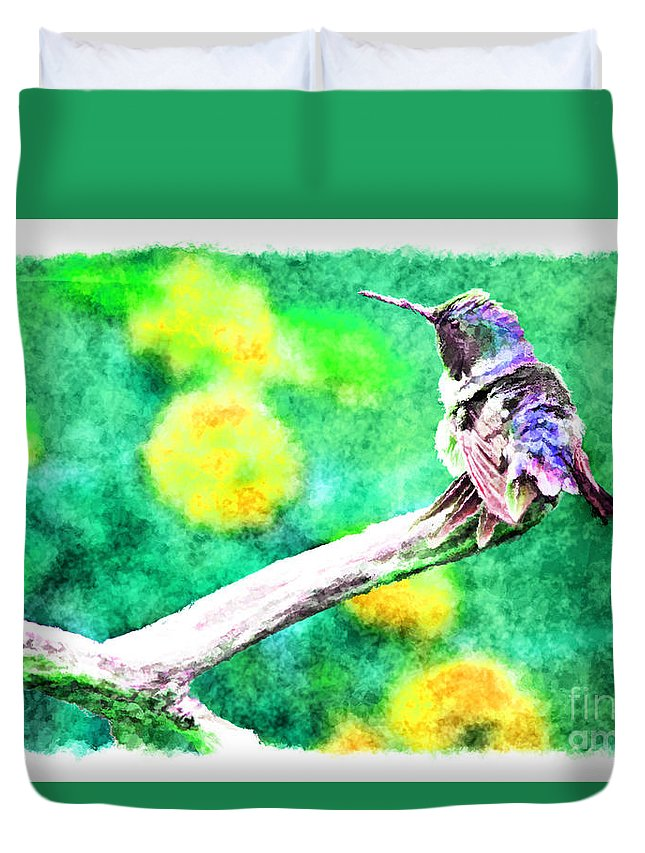 Nature Duvet Cover featuring the photograph Ruffled Hummingbird - Digital Paint 5 by Debbie Portwood