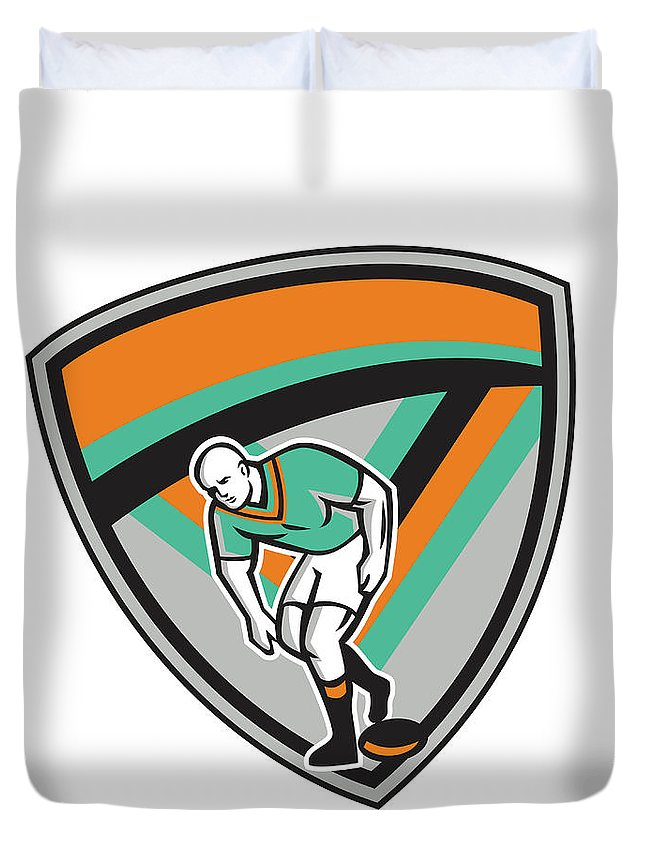 Rugby Duvet Cover featuring the digital art Rugby League Player Playing Ball Shield Retro by Aloysius Patrimonio