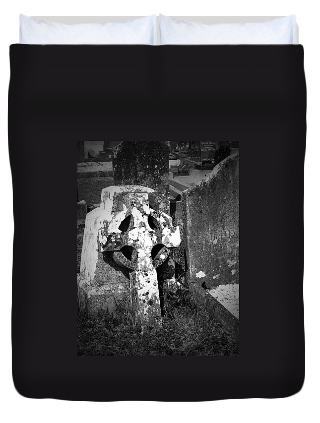 Celtic Duvet Cover featuring the photograph Rugged Cross At Fuerty Cemetery Roscommon Ireland by Teresa Mucha