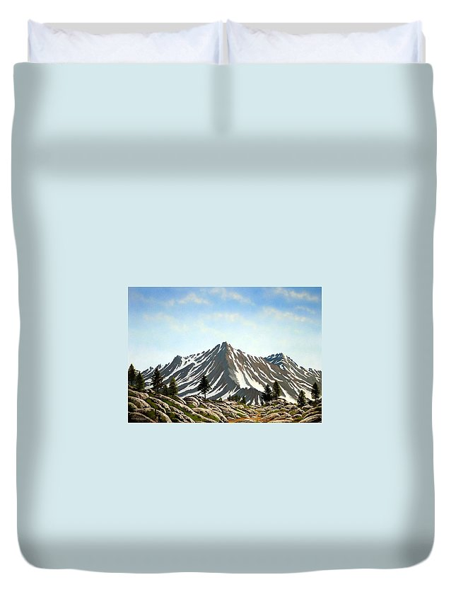 Mountians Duvet Cover featuring the painting Rugged Peaks by Frank Wilson