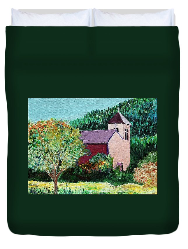 Church Duvet Cover featuring the painting Ruidoso by Melinda Etzold