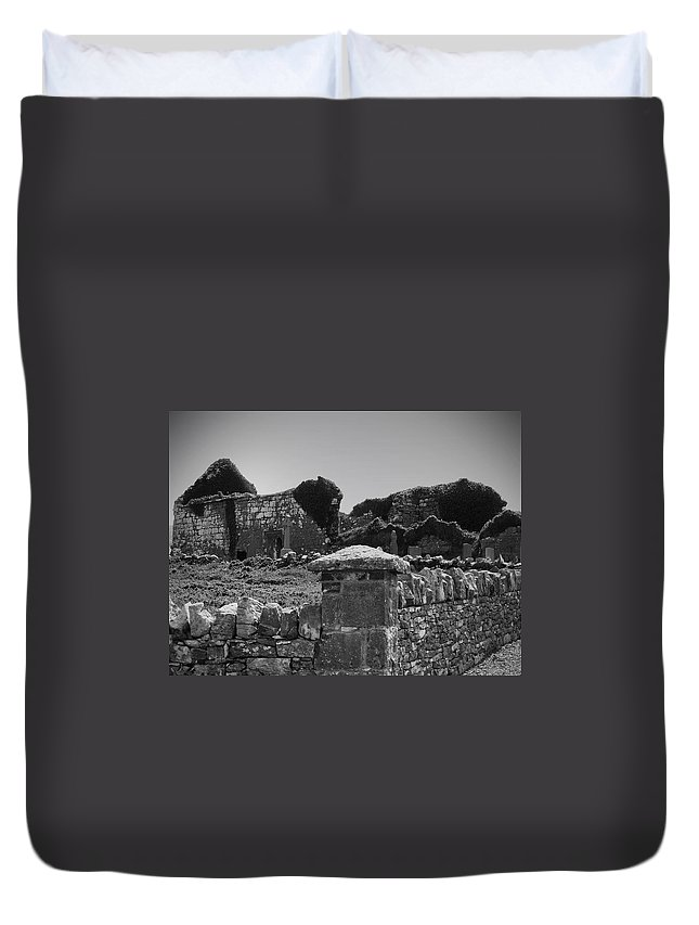 Irish Duvet Cover featuring the photograph Ruins In The Burren County Clare Ireland by Teresa Mucha