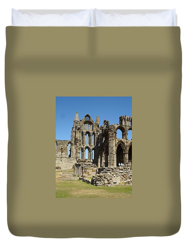 Whitby Duvet Cover featuring the photograph Ruins Of Whitby Abbey by Susan Baker