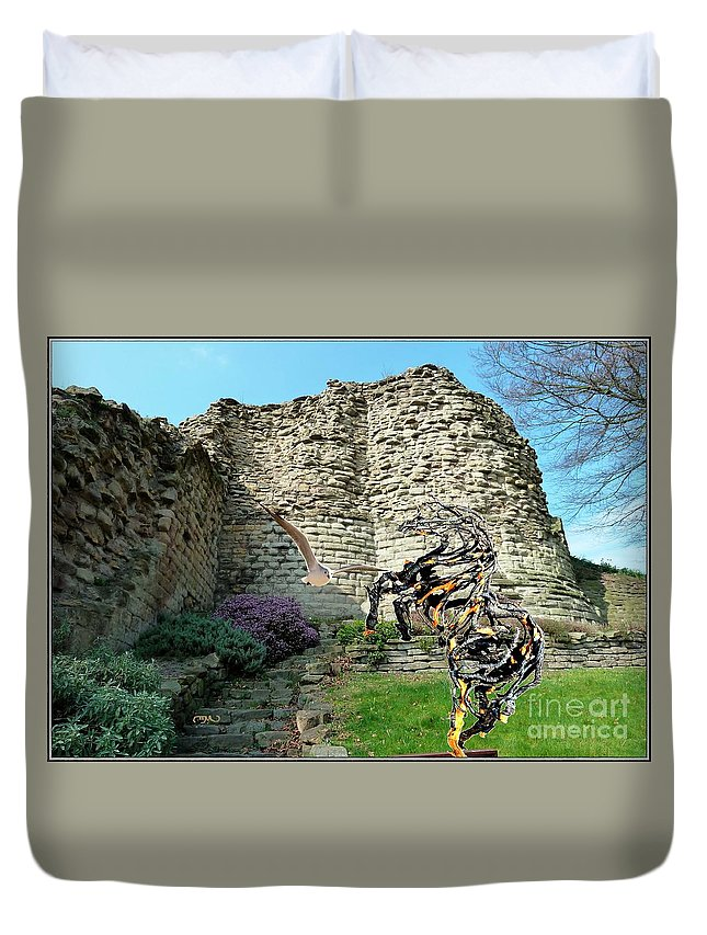 Modern Painting Duvet Cover featuring the mixed media Ruins by Pemaro