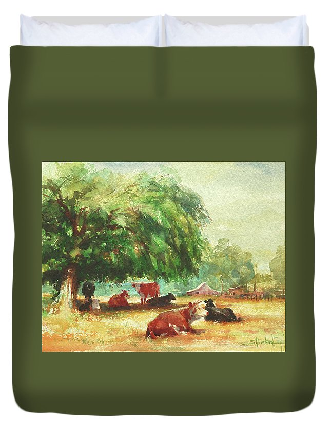 Cows Duvet Cover featuring the painting Rumination by Steve Henderson