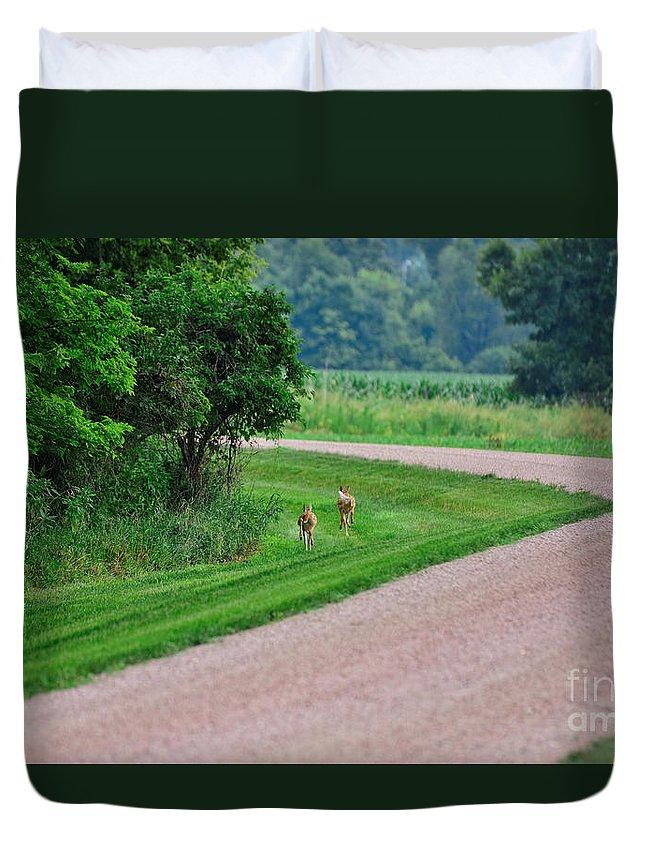 South Dakota Duvet Cover featuring the photograph Run Babies Run by M Dale