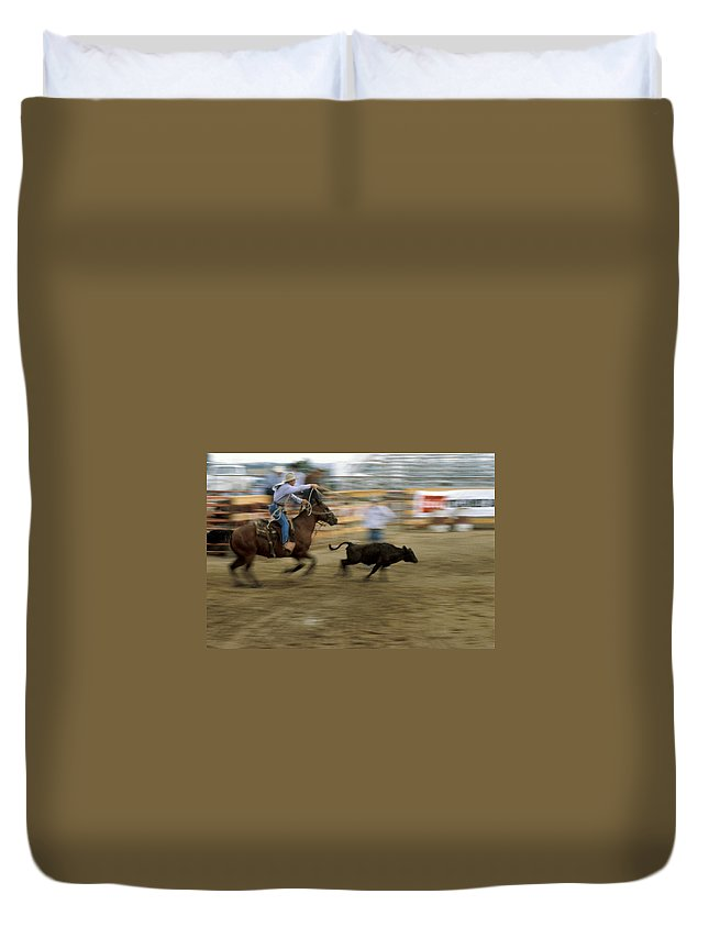 Rodeo Duvet Cover featuring the photograph Run Little Doggie by Jerry McElroy