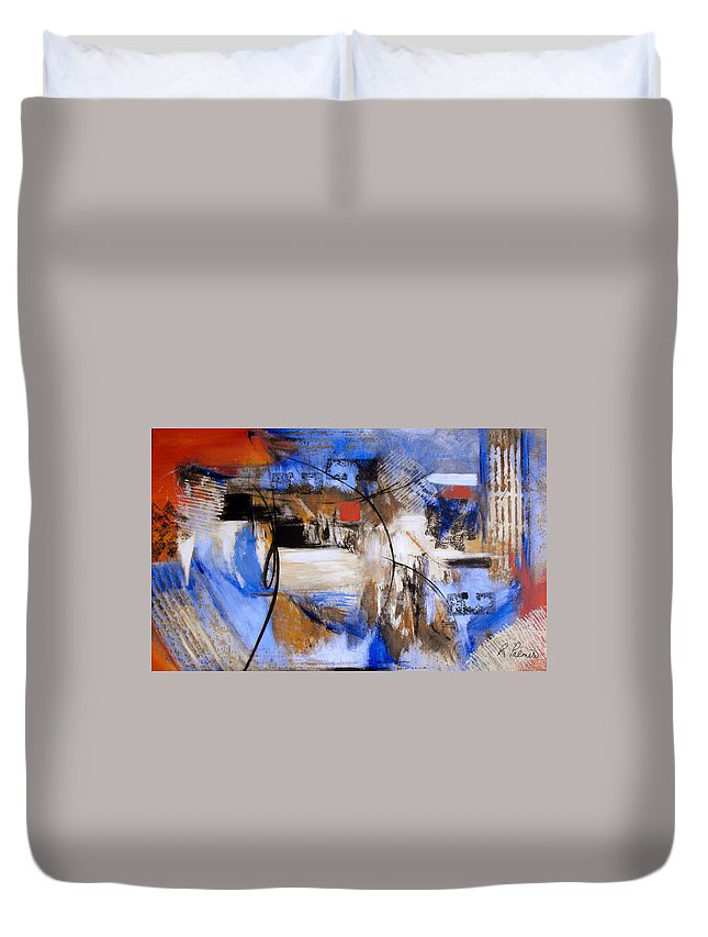 Abstract Duvet Cover featuring the painting Run The Race by Ruth Palmer
