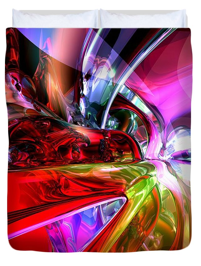 3d Duvet Cover featuring the digital art Runaway Color Abstract by Alexander Butler