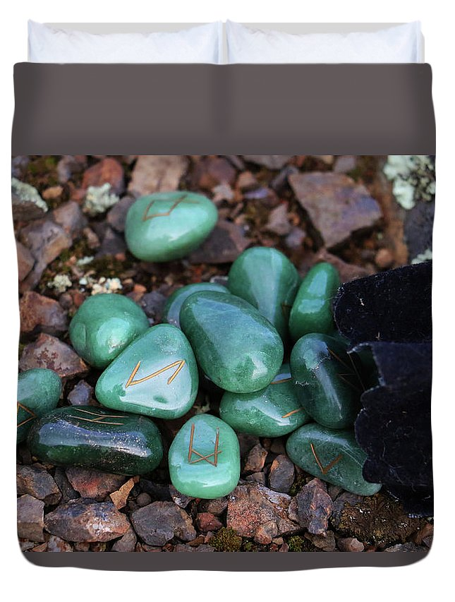 Runes Duvet Cover featuring the photograph Runes by Gralyn Haller