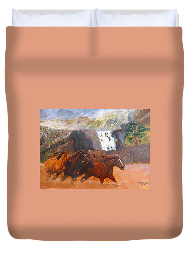 Horses Duvet Cover featuring the painting Running Before The Storm by Richard Le Page