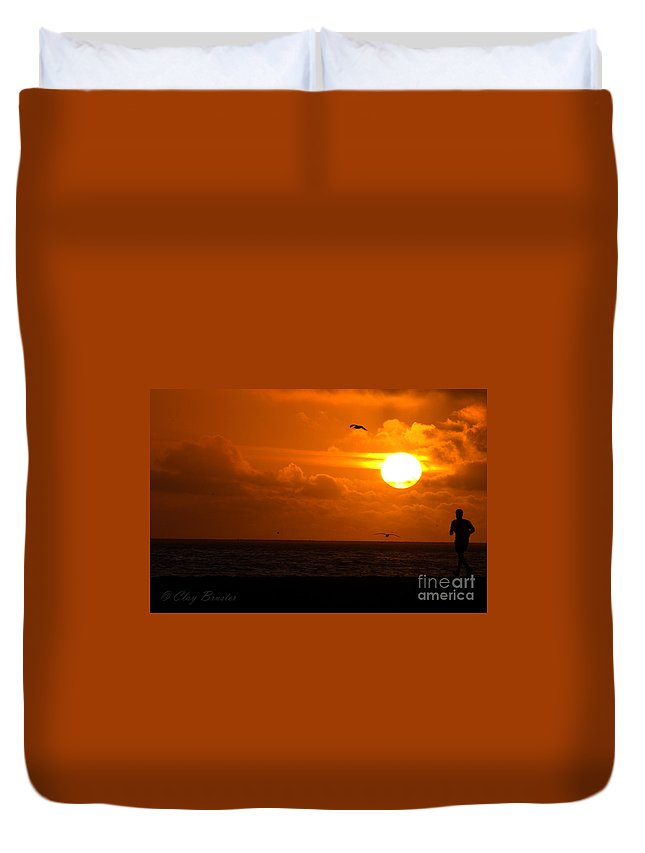 Clay Duvet Cover featuring the photograph Running By Dusk by Clayton Bruster