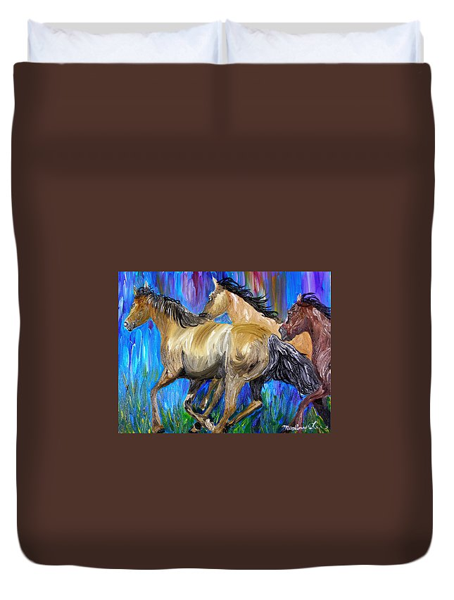 Horses Duvet Cover featuring the painting Running Colors by Michael Lee