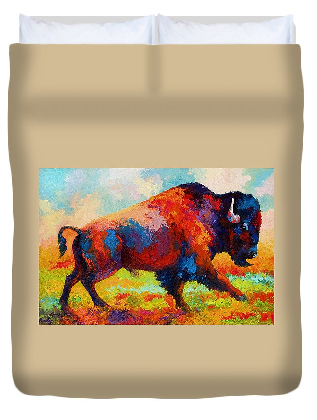 Bison Duvet Cover featuring the painting Running Free by Marion Rose