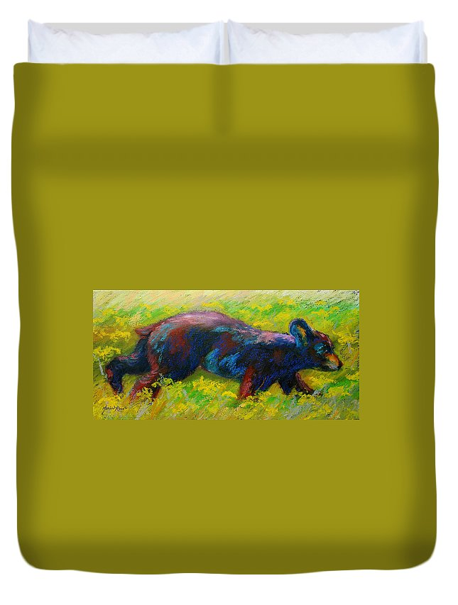 Western Duvet Cover featuring the painting Running Free - Black Bear Cub by Marion Rose