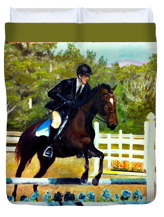 Horse Duvet Cover featuring the painting Running Free by Beverly Johnson