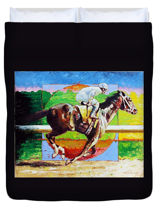 Horse Duvet Cover featuring the painting Running from the Darkness by John Lautermilch