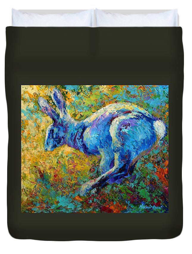 Rabbit Duvet Cover featuring the painting Running Hare by Marion Rose
