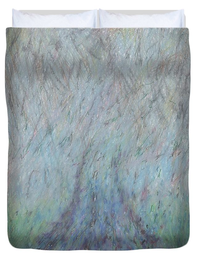 Fog Duvet Cover featuring the drawing Running Into Fog by Andy Mercer