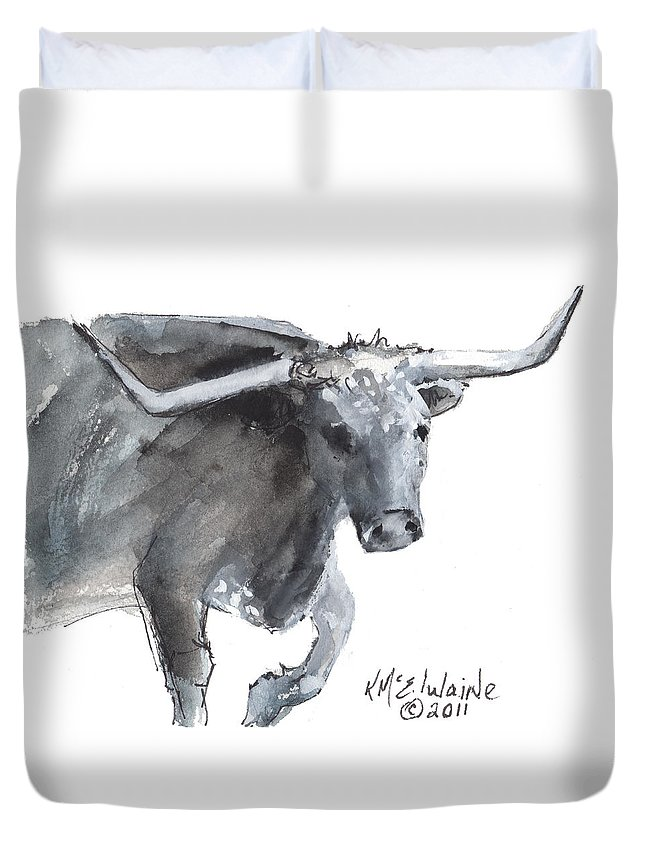 Longhorn Duvet Cover featuring the painting Running Texas Longhorn Watercolor Painting By Kmcelwaine by Kathleen McElwaine