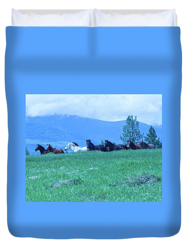 Outside Duvet Cover featuring the photograph Running On The Ridge by Eleszabeth McNeel