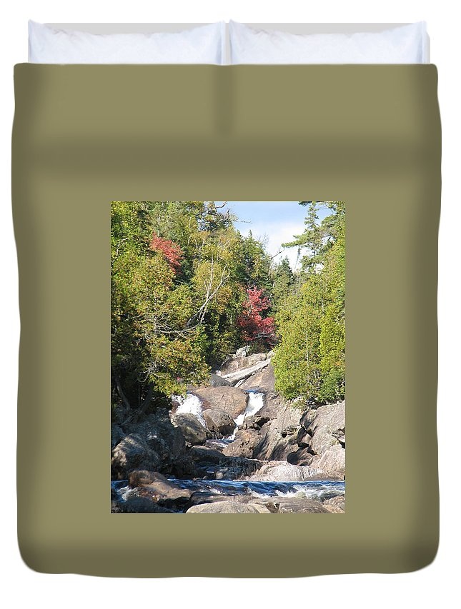 Waterfall Duvet Cover featuring the photograph Running Through The Woods by Kelly Mezzapelle