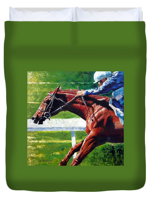 Horse Race Duvet Cover featuring the painting Running Towards The Light by John Lautermilch