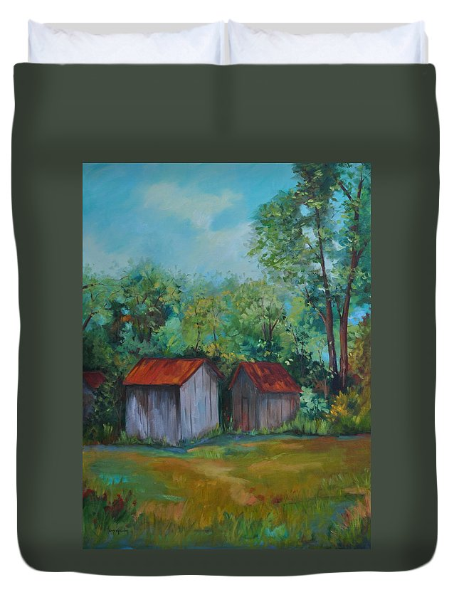 Outbuildings Duvet Cover featuring the painting Rural Architecture by Ginger Concepcion