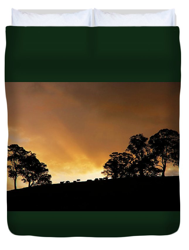 Sunset Duvet Cover featuring the photograph Rural Glory by Mike Dawson