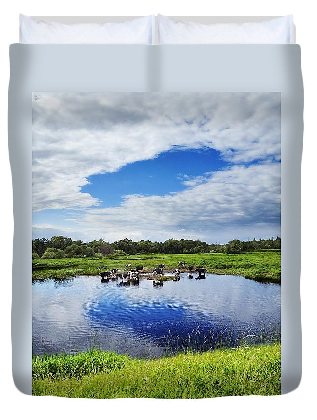 Air Duvet Cover featuring the photograph Rural Landscape by Vadzim Kandratsenkau