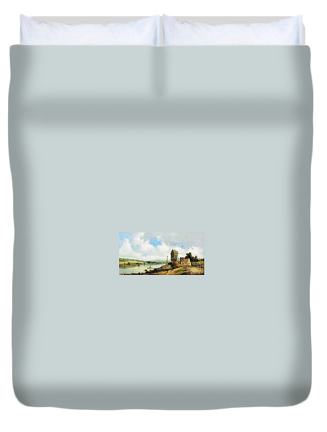 Alfred Vickers - Rural Landscape With River Duvet Cover featuring the painting Rural Landscape With River by MotionAge Designs