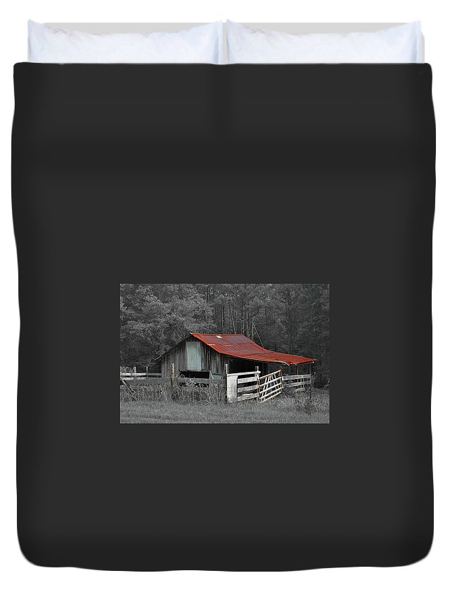 Barn Duvet Cover featuring the photograph Rural Red - Red Roof Barn Rustic Country Rural by Jon Holiday