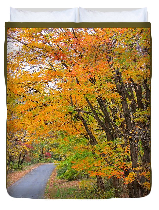 Landscape Duvet Cover featuring the photograph Rural Road by Anne Ditmars