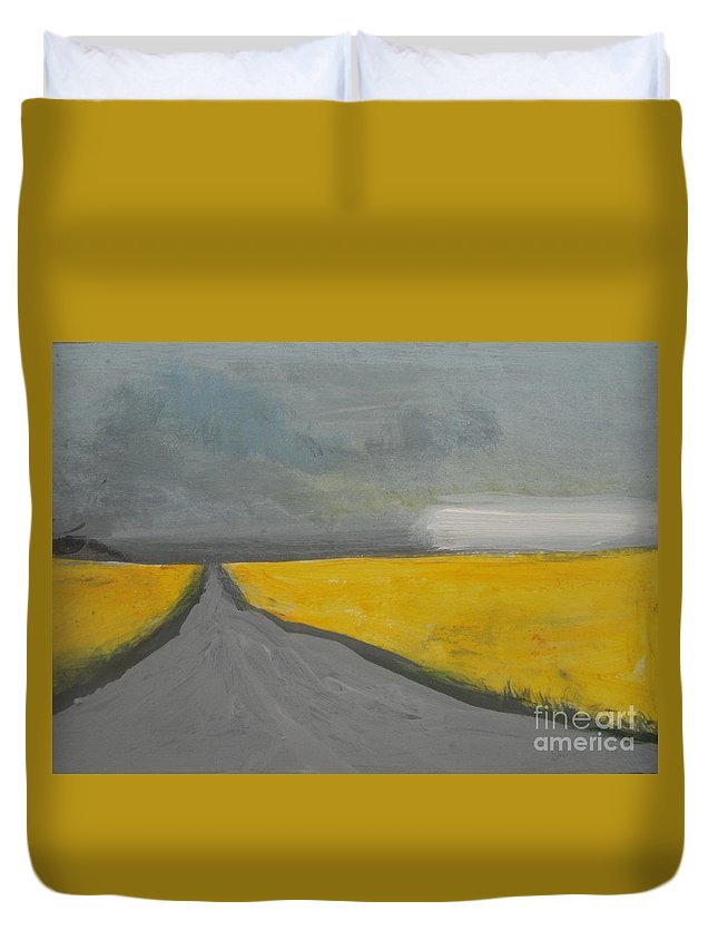 Abstract Landscape Duvet Cover featuring the painting Rural Road Trough Canola Field by Vesna Antic