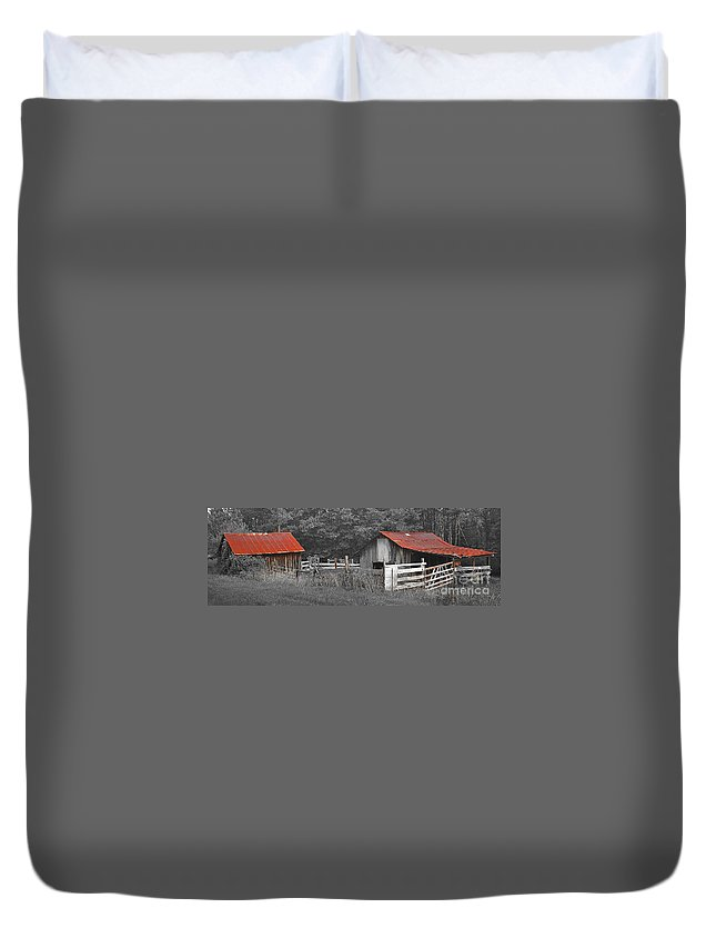 Barn Duvet Cover featuring the photograph Rural Serenity Black And White Version - Red Roof Barn Rustic Country Rural by Jon Holiday