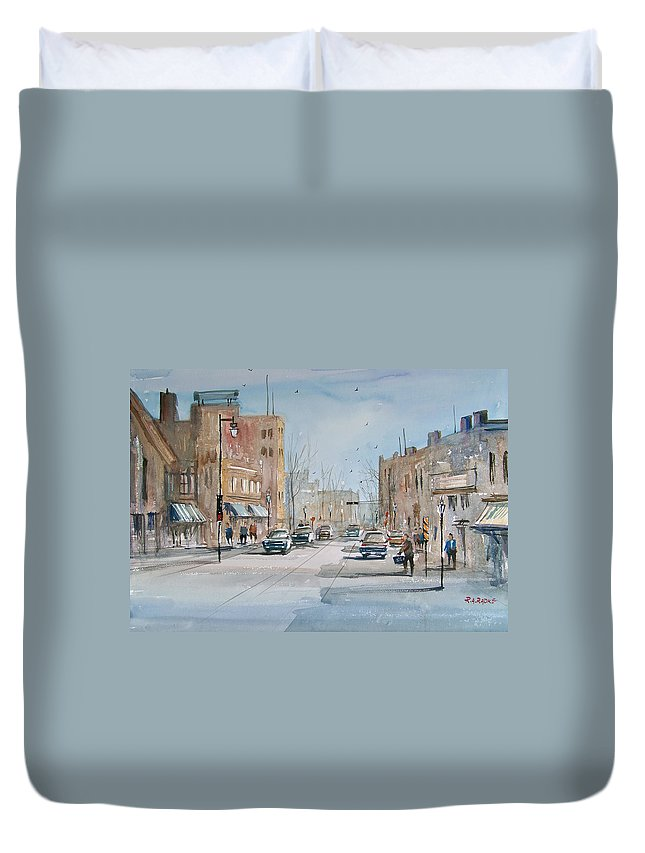 Street Scene Duvet Cover featuring the painting Rush Hour - Fond Du Lac by Ryan Radke