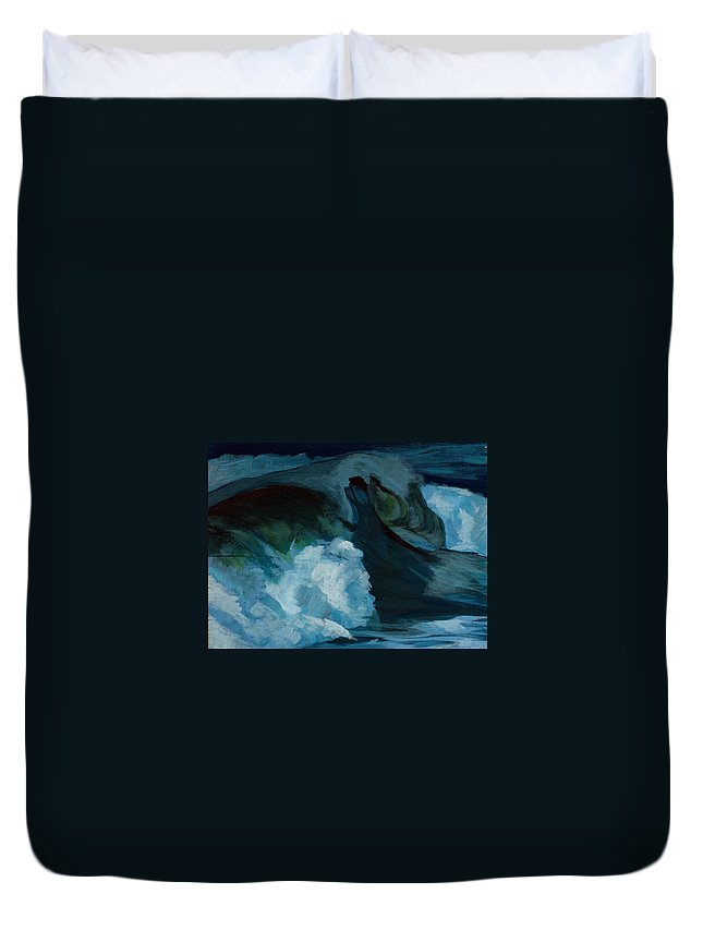 Waves Duvet Cover featuring the painting Rush by Racquel Morgan