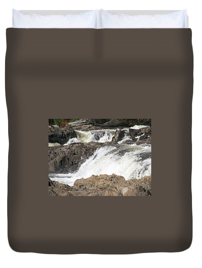 Waterfall Duvet Cover featuring the photograph Rushing by Kelly Mezzapelle