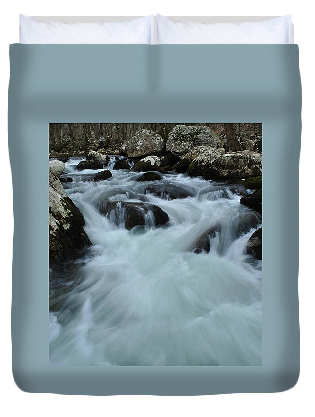 Water Duvet Cover featuring the photograph Rushing Waters by Eric Liller