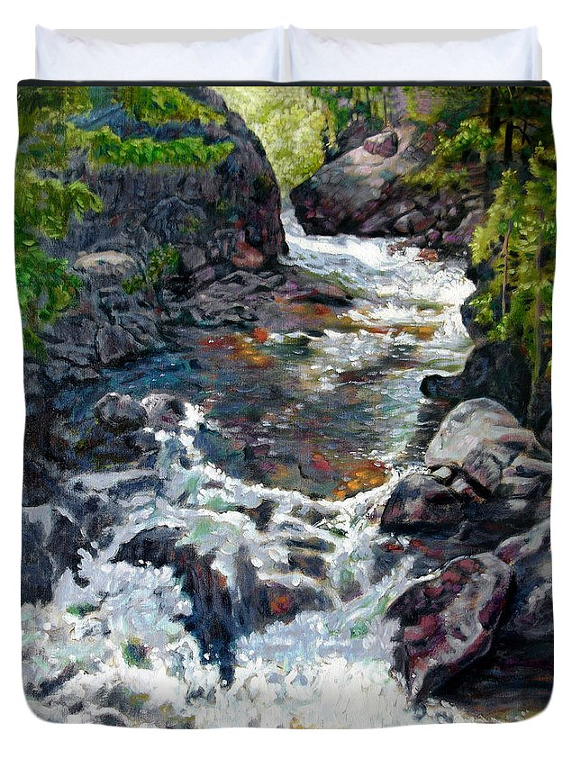 A Fast Moving Stream In Colorado Rocky Mountains Duvet Cover featuring the painting Rushing Waters by John Lautermilch