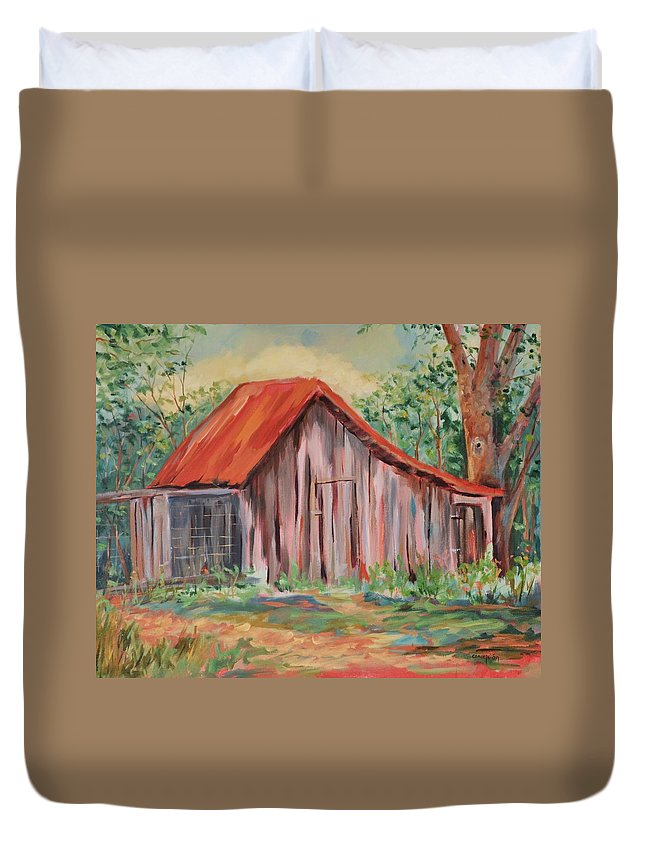 Chicken Coops Duvet Cover featuring the painting Russel Crow by Ginger Concepcion