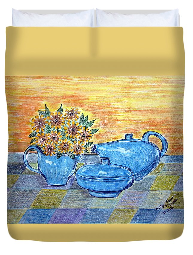 Russell Wright China Duvet Cover featuring the painting Russel Wright China by Kathy Marrs Chandler