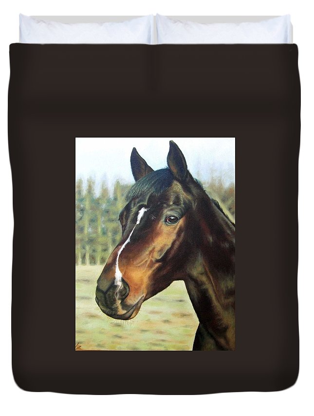 Horse Duvet Cover featuring the painting Russian Horse by Nicole Zeug