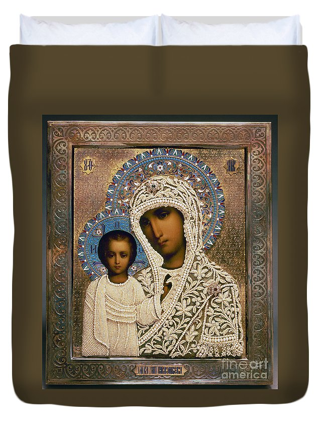 1896 Duvet Cover featuring the photograph Russian Icon: Mary by Granger