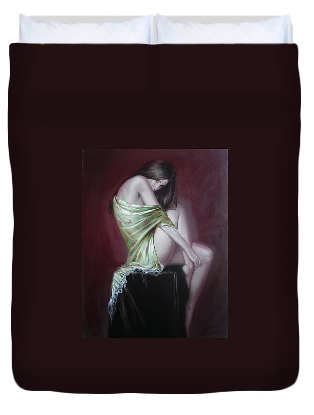 Art Duvet Cover featuring the painting Russian Model by Sergey Ignatenko