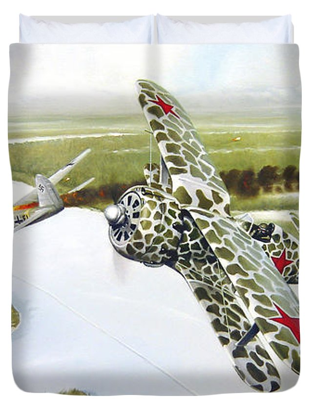 Aviation Duvet Cover featuring the painting Russian Roulette by Marc Stewart