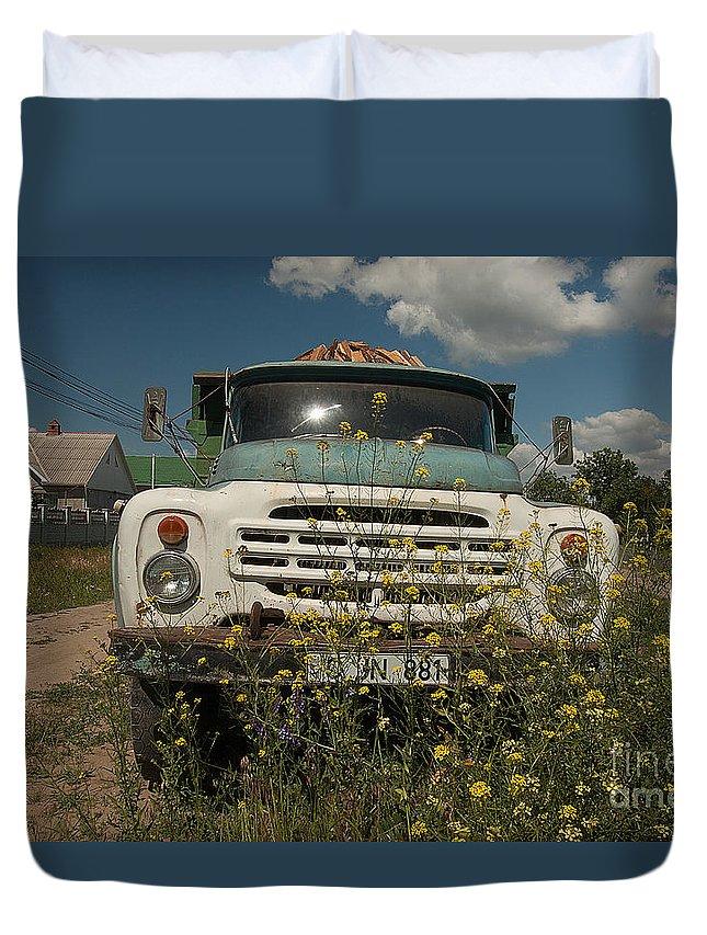 Gaz Duvet Cover featuring the photograph Russian Truck by Christian Hallweger